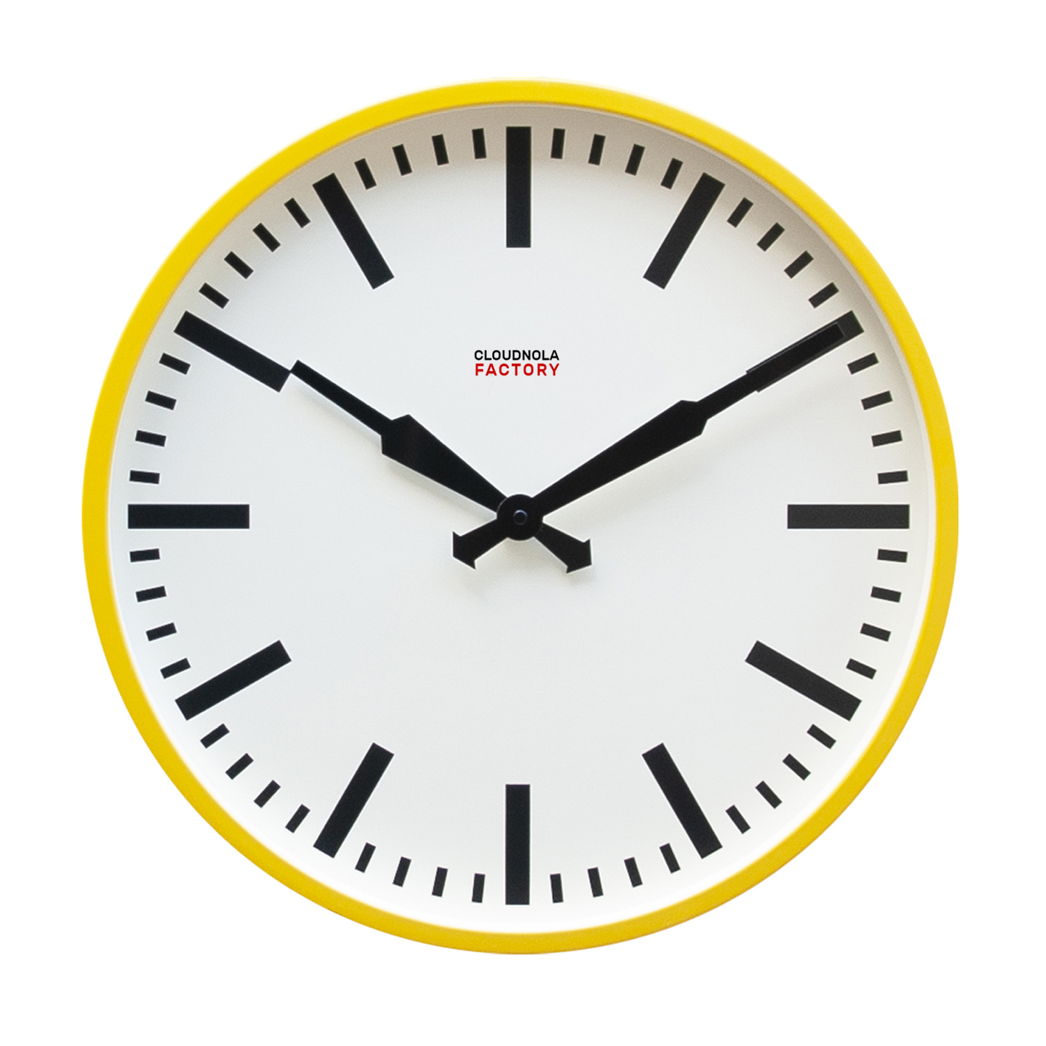 Cloudnola Factory Railway clock 45cm Yellow Stripe